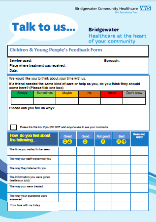 Children & Young People's Feedback Form