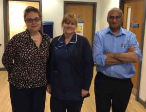 Dr Tchikhiaeva, Nurse Siobhan Lyons and Dr Agarwala from the Service