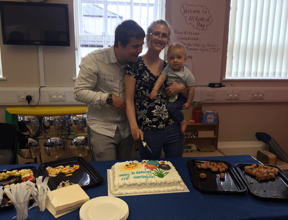 Warrington FNP Cutting the cake 1st anniversary