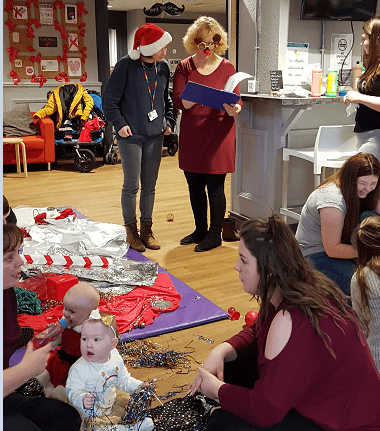 Family Nurse Sue and Louise join in the Christmas celebrations at the FNP / Children Centre joint group at the Youth Café in Warrington
